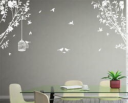 Large Side Wall Tree Sticker Birds and Cage Wall Art Vinyl Wall Decal Home Decor