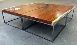 Monkeypod Coffee Table With Metal Cube Base, Bjorling And Grant