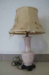 Chinese Small Porcelain Pink Electric Lamp And Shade By Diane Vintage