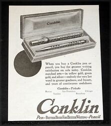 1922 Old Magazine Print Ad, Conklin's Self-filling Fountain Pens, Satisfaction