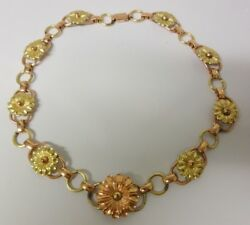 Vtg Victorian 12k Rose And Yellow Gold Filled Floral Necklace Choker Hard To Find