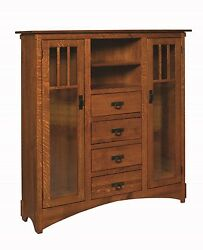 Amish Mission Arts And Crafts Bookcase Glass Doors Solid Wood Cabinet