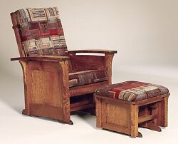 Amish Mission Arts And Crafts Glider Chair Ottoman Bow Arm Panel Solid Wood