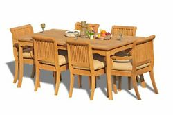 7-piece Outdoor Teak Dining Set 83 Rectangle Table, 6 Arm/armless Chairs Giva