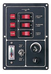 Marine Boat Aluminum Switch Panel 3 Gang W/ Battery Tester And Cigarette Lighter