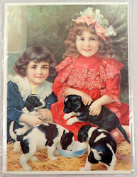 Victorian Lithograph Print Picture Puppy Love Dogs And Children Kids 5 X 7
