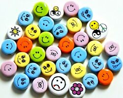 BEADS CERAMIC HAPPY FACE EMOJI ROUND DISC 14 21mm MIXED LOT 35pc SALE $5.99