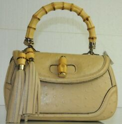 $15300 Gucci Tan Wheat Beige New Bamboo EXOTIC Ostrich Top Handle Tassel bag