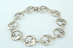 Sterling Silver Bracelet With Crescent Moon Face And Star Round Links 7 3/4 Inch