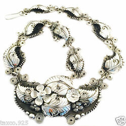 Vintage Style Taxco Mexican 925 Sterling Silver Floral Flower Necklace Mexico