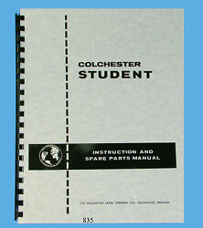 Colchester 6 Student And 12 Dominion Lathes Instruction And Parts List Manual 835