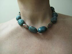 Turquoise Necklace Nuggets Stone Hand Made Nepal Beads 17.5 44cm Silver Gold