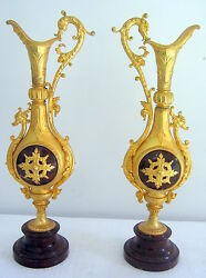 Pair Of Antique Ewers Bronze And Red Marble