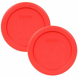 Pyrex 4quot; Plastic Red Lid Replacement Cover 2 Pack For 1 Cup Bowl Dish 7202 PC