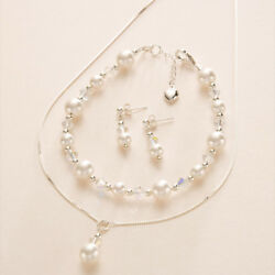 Bridal Wedding Jewellery Set White or Ivory Pearls for Bride or Bridesmaids