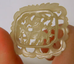 Antique 19c Chinese A Grade White Jade Hand Carved Pendant
