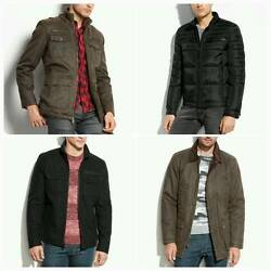 New Guess Men Antique-finish Hooded Wool Bomber Down Moto Jacke Size S M L