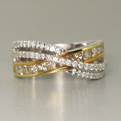 1.43ct Champagne And White Diamond Cross-over Band Ring In 18k Gold - Size 7