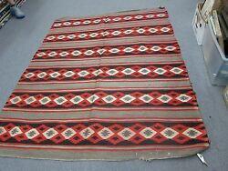 Antique Native American Indian Navajo Weaving Wool Blanket 5and0393x6and0395 = 63x77