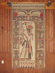 Huge Antique Egyptian Tapestry Distressed Sailcloth Hand Sewn Quilt