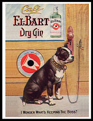 BOSTON TERRIER ON OLD GIN ADVERT LOVELY VINTAGE STYLE DOG ART PRINT POSTER