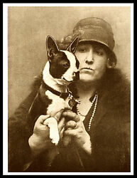BOSTON TERRIER LADY AND HER DOG LOVELY VINTAGE STYLE DOG PHOTO PRINT POSTER