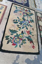Primitive Antique American Hand Made Hooked Rug Wool On Burlap - 3'-2 X 5'-4