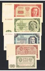 1948 Poland Set Of 5 Aunc - Unc Banknotes 2 5 20 50 And 100 Zlotych