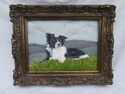 SPECTACULAR SHEEP HERDING DOG CANINE PORTRAIT BORDER COLLIE IN A LANDSCAPE OC