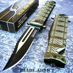 Tac Force Spring Open Assisted Military Green Bowie Rescue Tactical Pocket Knife
