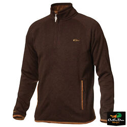 New Drake Waterfowl Heritage Knitted Fleece Andfrac14 Zip Pullover Shirt Brown 3xl