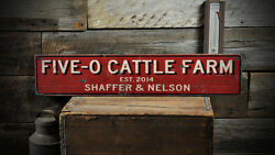Custom Cattle Farm Est Date Sign - Rustic Hand Made Distressed Wood