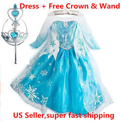 Frozen Princess ELSA Dress Cosplay Party Dress Up + Free Crown