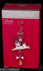Woof Beagle Dog Christmas Ornament Design by Ingrid Collectible NEW