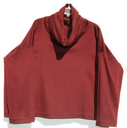 Eskandar Dark Burgundy Cashmere Monk Cowl Neck Boxy Tunic Top 1 1690