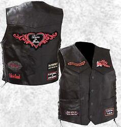 Black Leather Ladies Motorcycle Vest Lady Rider with Biker Patches Laced Women $37.99