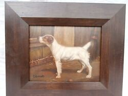DOG HANDSOME CANINE PORTRAIT IN A BARN SCENE JACK RUSSEL TERRIER OIL PAINTING