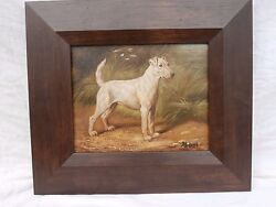 ? JACK RUSSEL TERRIER OIL PAINTING ADORABLE DOG CANINE PORTRAIT IN A LANDSCAPE