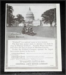 1913 Old Magazine Print Ad, Coldwell Lawn Mowers, The National Name In Mowers