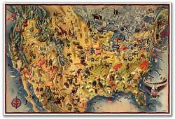 Huge Birds Eye View Art Map Of The Usa And Mexico By Miguel Covarrubias Circa 1942