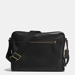 NWT Coach Men Bleecker Flight Crossbody Bag Brass Black F71373
