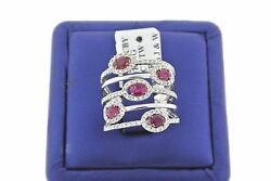 Handmade 14k White Gold 2.00ct Diamond And Ruby Open Design Ladies Ring Size 6.5
