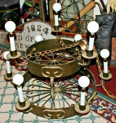 Vintage Wrought Iron Candelabra Chandelier 9 Light 2 Tier Chandelier Country