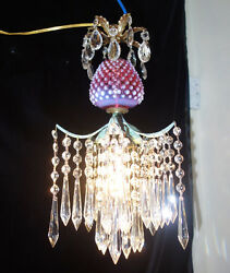 Lamp Chandelier Srawberry Crystal Brass Ceiling Vintage Fenton Cranberry Glass