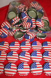 100 Flag Stars And Stripes Red White Blue Beer Bottle Caps No Dents Free Shpg