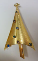 Antique Signed Wells 12k Gold Filled Rhinestone Christmas Brooch Pin