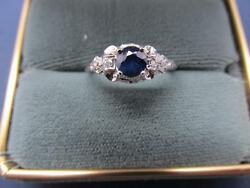 Vintage14k Solid Gold Natural Untreated Blue Sapphire And Diamond Filigree Ring
