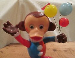 alps tin plastic wind up monkey balloons