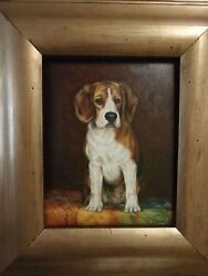 Handsome Harrier Canine Portrait Small Breed Puppy Dog O/c Bin Or Best Offer