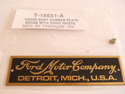 Ford Model T Brass Body Id Plate 1903-1905